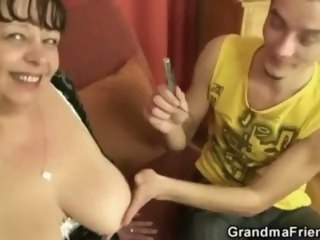 Two funny dudes bang mature fatty granny mature