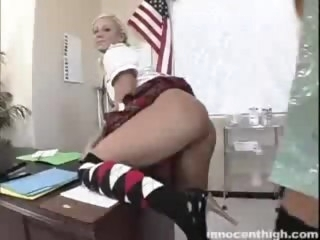 Blondes toying in the principal's office reality innocenthigh.com