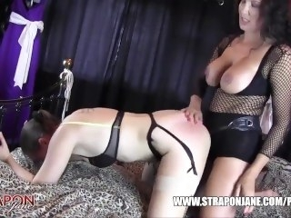 Femdom Strapon Jane fucks horny lesbian peach ass slut with massive strapon straponjane brunette