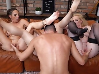 Group sex with mature moms and lucky son blowjob amateur