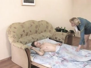 Aunt wakes him up blonde russian