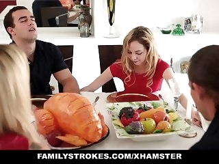 Step sister Sucks And Fucks NOT brother During Dinn hardcore blonde