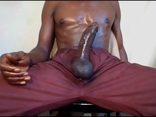 Hot Guy Hard and Horny Jacking My Big Black Cock Busting a Huge Cumload!! cock black