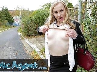 Public Agent Cute Blonde Russian babe fucked through tights at roadside blonde publicagent