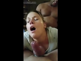 Gorgeous wife facing hubby, gets fucked by bbc milf amateur
